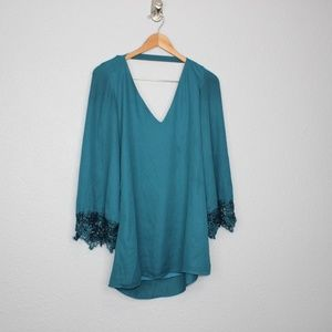 TOBI Teal Long Sleeve Lace Mini Dress sz XS